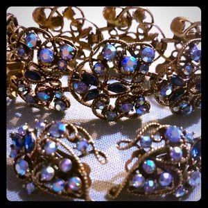 Vintage Charel rhinestone vermeil bracelet clips